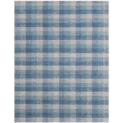 Tartan Blue 9 Ft X 13 Ft Transitional Plaid New Zealand Wool Area Rug Tra110913 The Home Depot
