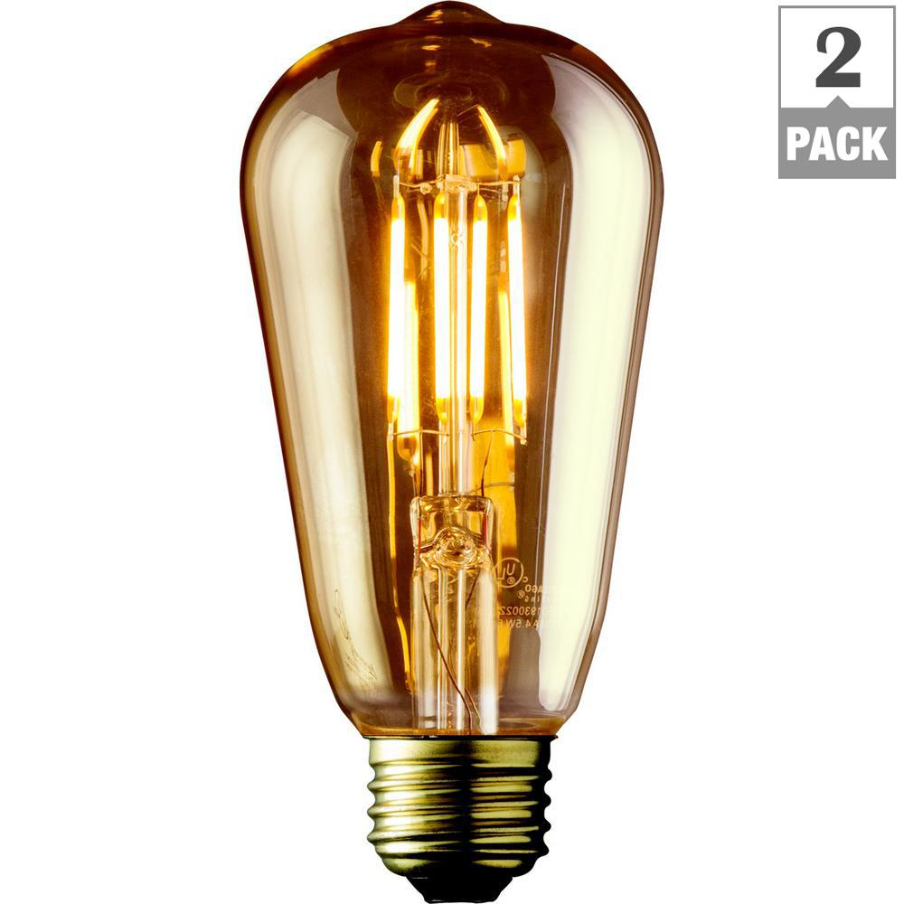 Bulbrite 40w Equivalent Warm White Light A19 Dimmable Led: Archipelago 40W Equivalent Warm White ST21 Amber Lens