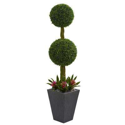 5 ft. High Indoor/Outdoor Double Boxwood Ball Topiary Artificial Tree in Slate Planter