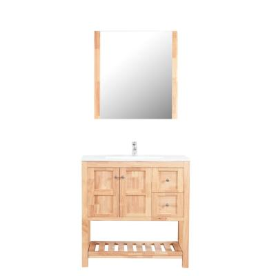 Manhattan 36 in. W x 18 in. D Vanity in Natural Wood with Ceramic Basin in White and Mirror