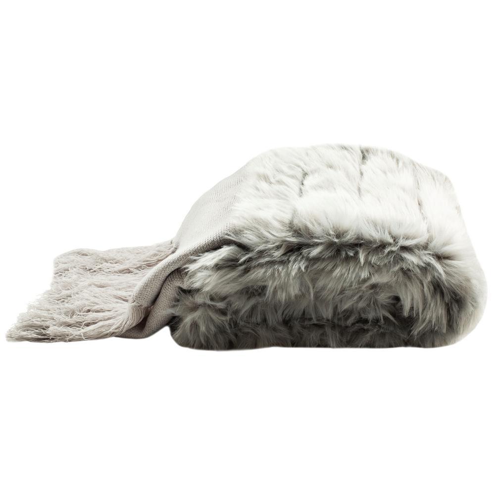 Faux Fur Alexi Bed Runner Grey Throw