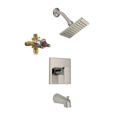 Karsen Single-Handle 1-Spray Tub and Shower Faucet in Satin Nickel (Valve Included)