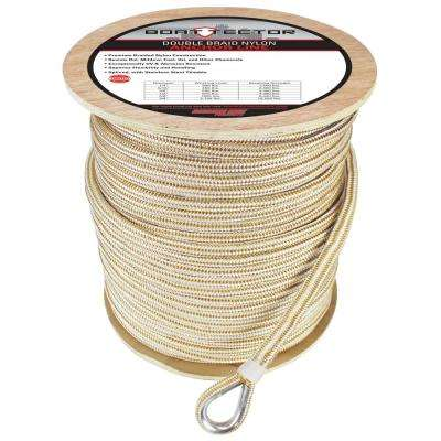 BoatTector 5/8 in. x 600 ft. Double Braid Nylon Anchor Line with Thimble in White and Gold