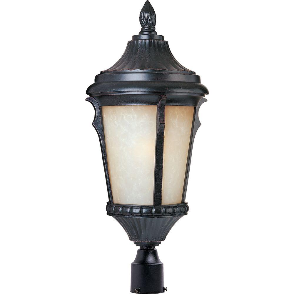 Maxim Lighting Odessa 1-Light Espresso Outdoor Pole/Post Mount Maxim Lighting's Odessa series is available in 3 different Collections, Die Cast, LED and Energy Efficient. Odessa EE is a traditional, early American style, energy saving collection from Maxim Lighting International in Espresso finish with Latte glass. Shop the exterior collection for Pole/Post Lanterns and Wall Lanterns.