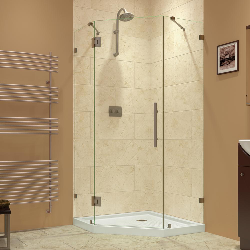DreamLine Prism Lux 34-5/16 in. x 34-5/16 in. x 72 in. Frameless Hinged Shower Enclosure in Brushed Nickel