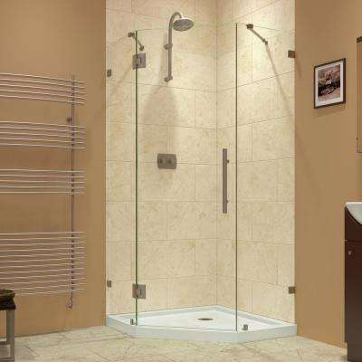 Prism Lux 34-5/16 in. x 34-5/16 in. x 72 in. Frameless Hinged Neo-Angle Corner Shower Enclosure in Brushed Nickel