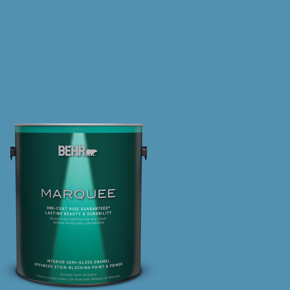 Behr Marquee 1 Gal M490 5 Jet Ski One Coat Hide Semi Gloss Enamel Interior Paint 345401 The Home Depot
