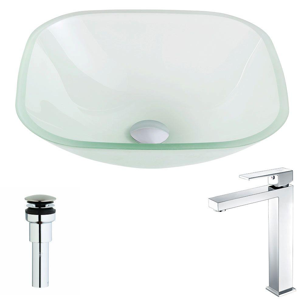Vista Series Deco-Glass Vessel Sink in Lustrous Frosted with Enti Faucet
