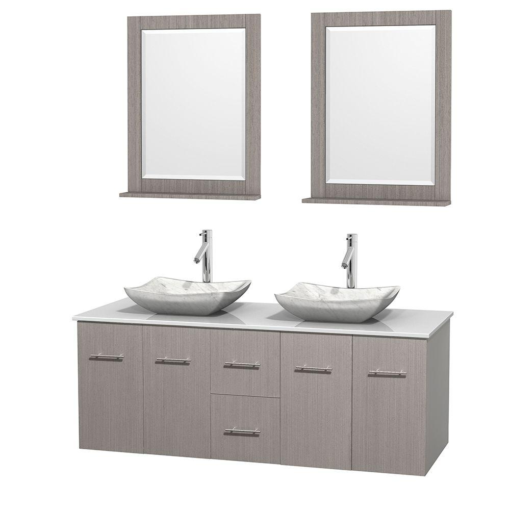 Wyndham Collection Centra 60 in. Double Vanity in Gray Oak with Solid-Surface Vanity Top in White, Carrara Marble Sinks and 24 in. Mirror
