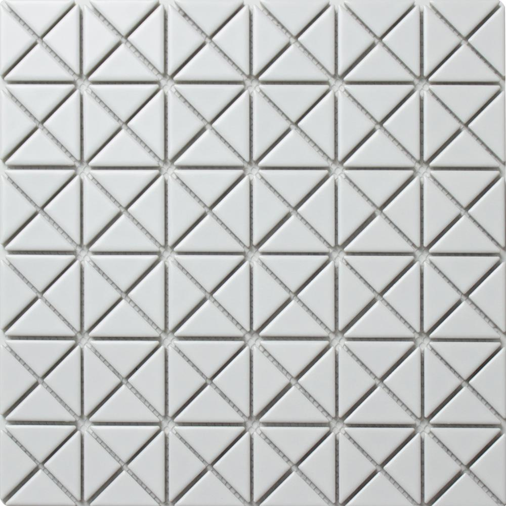 Merola Tile Tre Mini Crossover Matte White 10-3/4 in. x 10-3/4 in. x 6 mm Porcelain Mosaic Tile