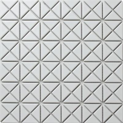 Tre Mini Crossover Matte White 10-3/4 in. x 10-3/4 in. x 6 mm Porcelain Mosaic Tile