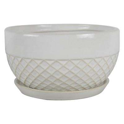 8 in. Dia White Acorn Ceramic Low Bowl