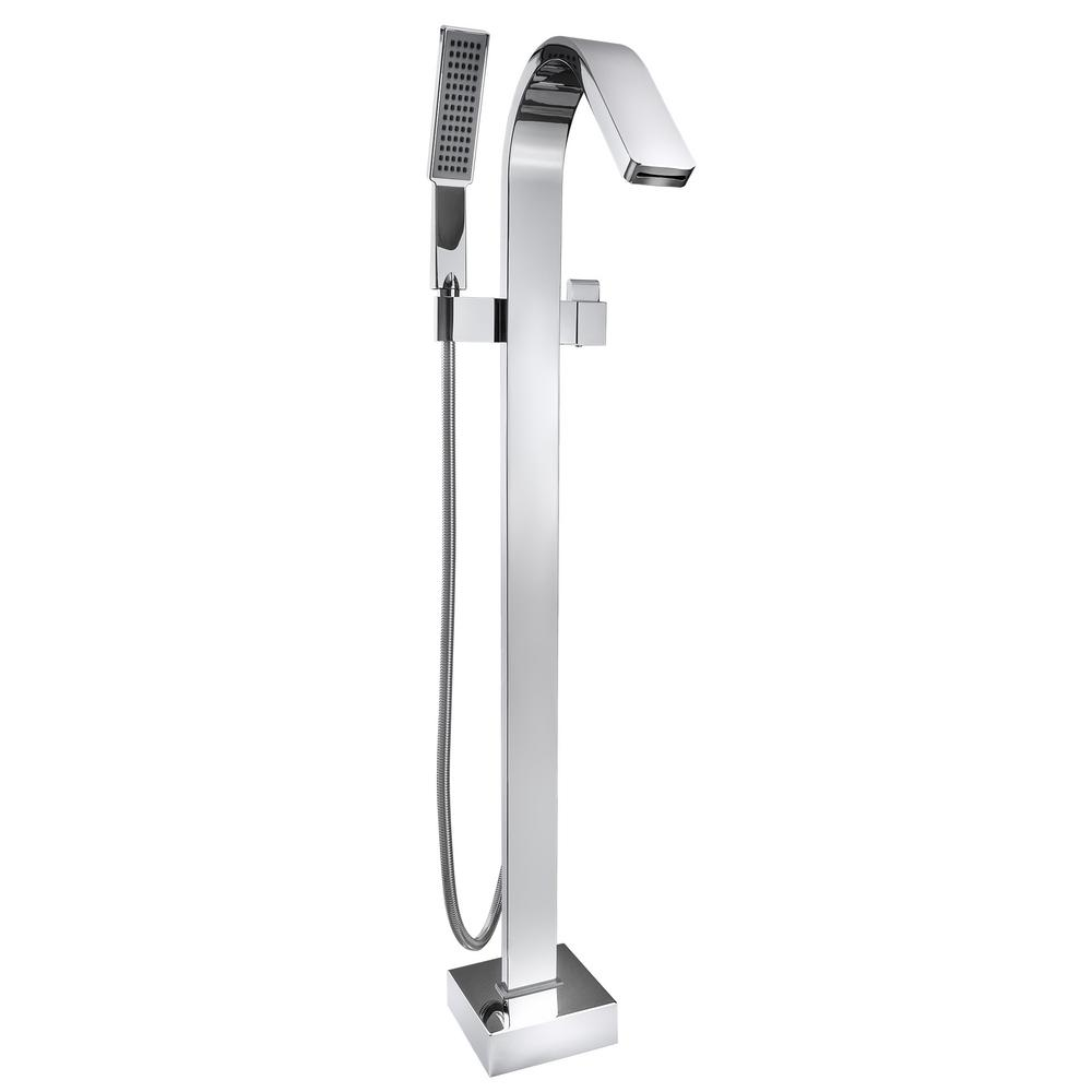 AKDY 1 Handle Freestanding Floor Mount Roman Tub Faucet Bathtub Filler With Hand  Shower In