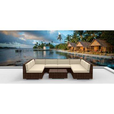 Brown Series 9-Piece Wicker Outdoor Sectional Seating Set with Beige Cushions