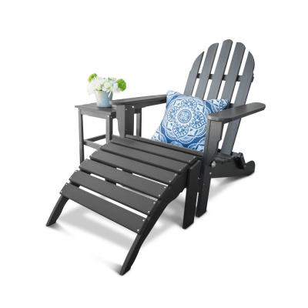 Icon Black 3-Piece Plastic Folding Adirondack Chair