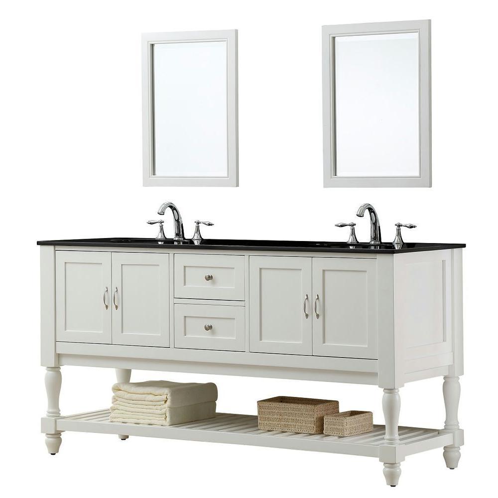 Mission Turnleg 70 in. Double Vanity in Pearl White with Granite Vanity Top in Black and Mirror