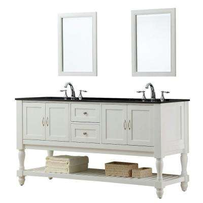 Mission Turnleg 70 in. Double Vanity in Pearl White with Granite Vanity Top in Black and Mirror