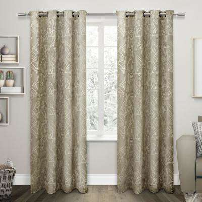Twig 54 in. W x 96 in. L Woven Blackout Grommet Top Curtain Panel in Taupe (2 Panels)