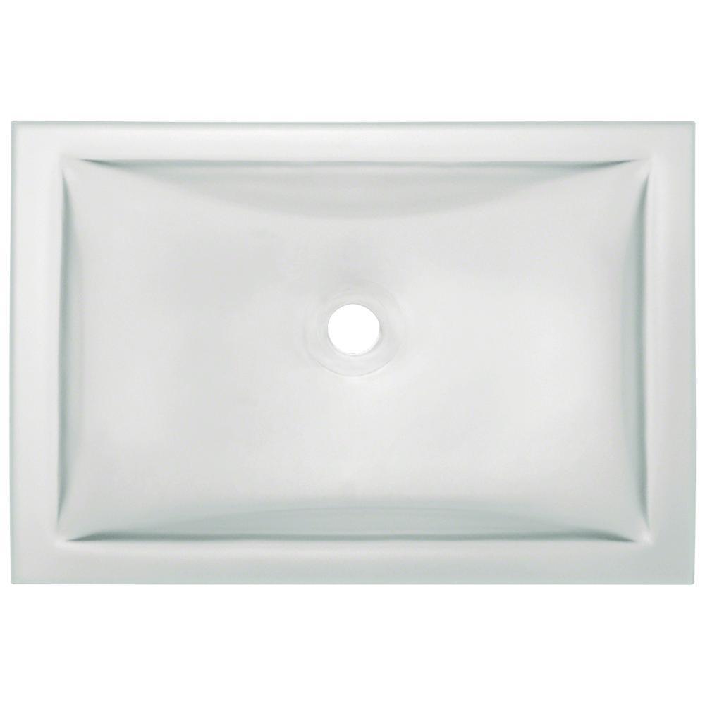 Undermount Glass Bathroom Sink in Frost