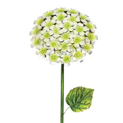 49 in. Hydrangea Flower Stake - White