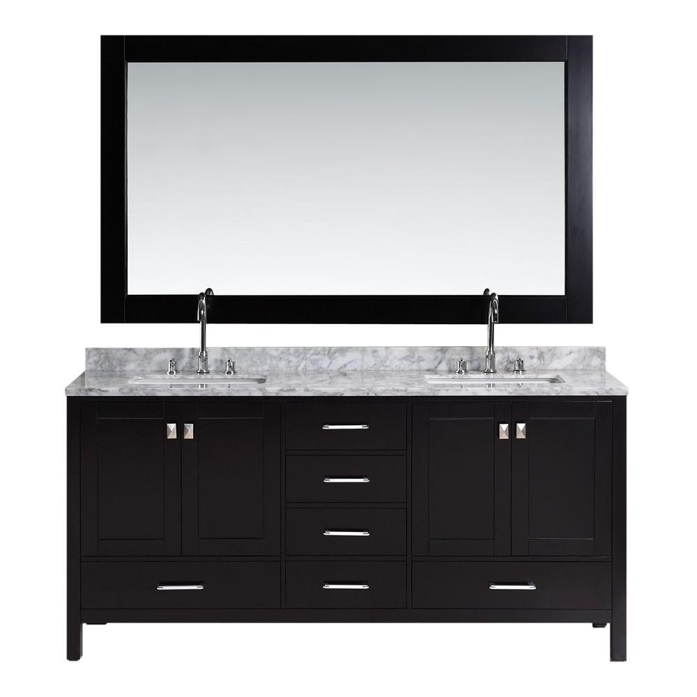 Design Element London 72 in. W x 22 in. D Double Vanity in Espresso with Marble Vanity Top and Mirror in Carrara White