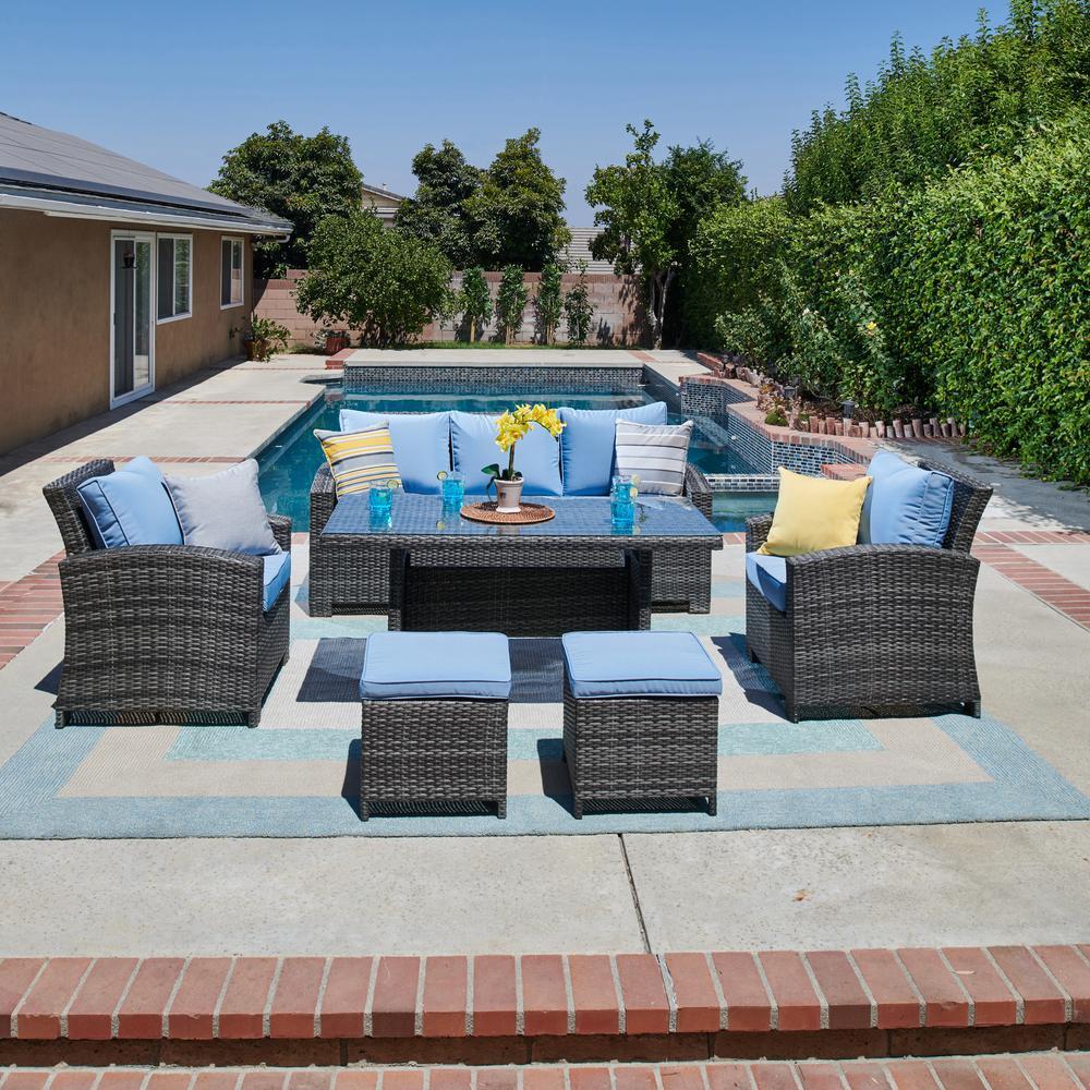 Atrani 6-Piece All-Weather Wicker Patio Conversation Set with Light Blue Cushions