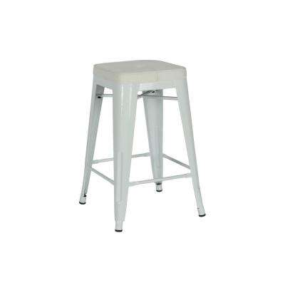 Salerno 24 in. White Counter Stool (Set of 2)