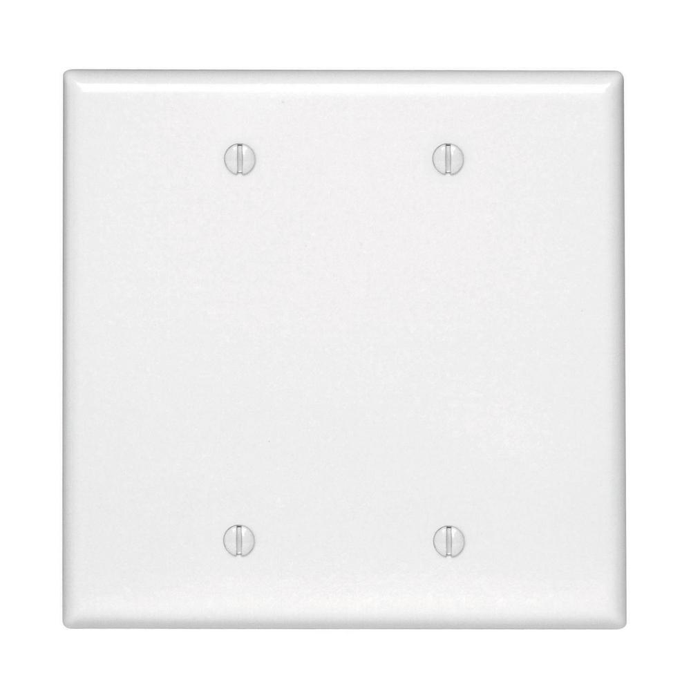 2-Gang No Device Blank Wallplate, Midway Size, Thermoset, Box Mount, White