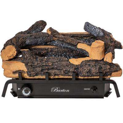 24 in. Vent Free Natural Gas Fireplace Logs Set in Rustic