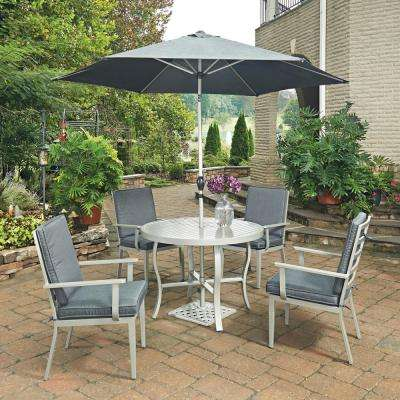 South Beach Grey 7-Piece Round Extruded Aluminum Outdoor Dining Set with Gray Cushions