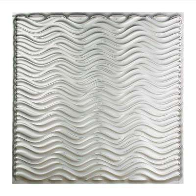 Current - 2 ft. x 2 ft. Vinyl Lay-In Ceiling Tile in Brushed Aluminum
