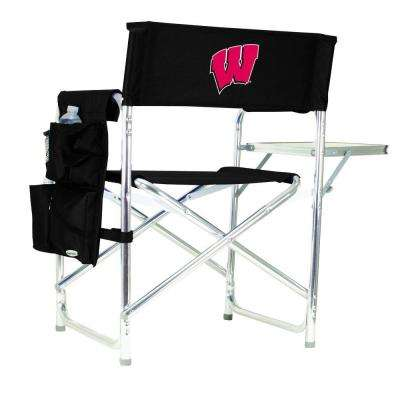 University of Wisconsin Black Sports Chair with Embroidered Logo