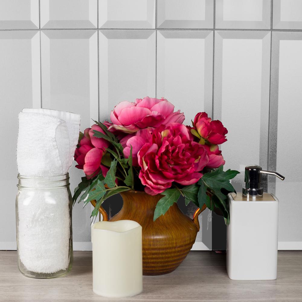 "Subway 4"" x 16"" Handmade Metallic Silver Beveled Glossy Glass Peel & Stick Decorative Bathroom Wall Tile Backsplash(9Pk)"