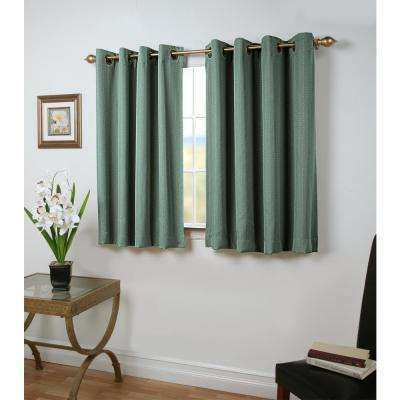 Grand Pointe 54 in. W x 45 in. L Polyester Blackout Short Length Window Panel in Green