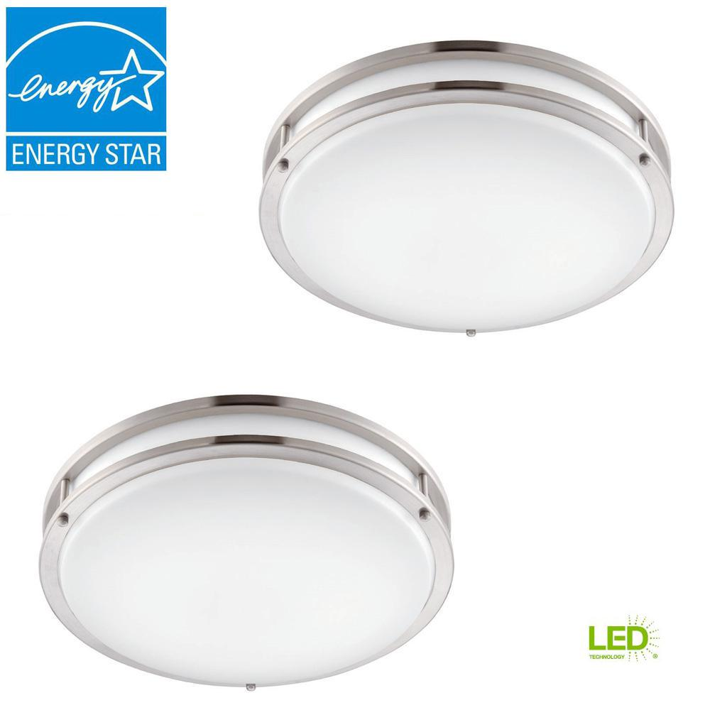 Envirolite low profile led 16 in brushed nickel white ceiling flush mount 2 pack