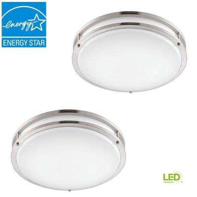 Low Profile LED 16 in. Brushed Nickel/White Ceiling Flush Mount (2-Pack)