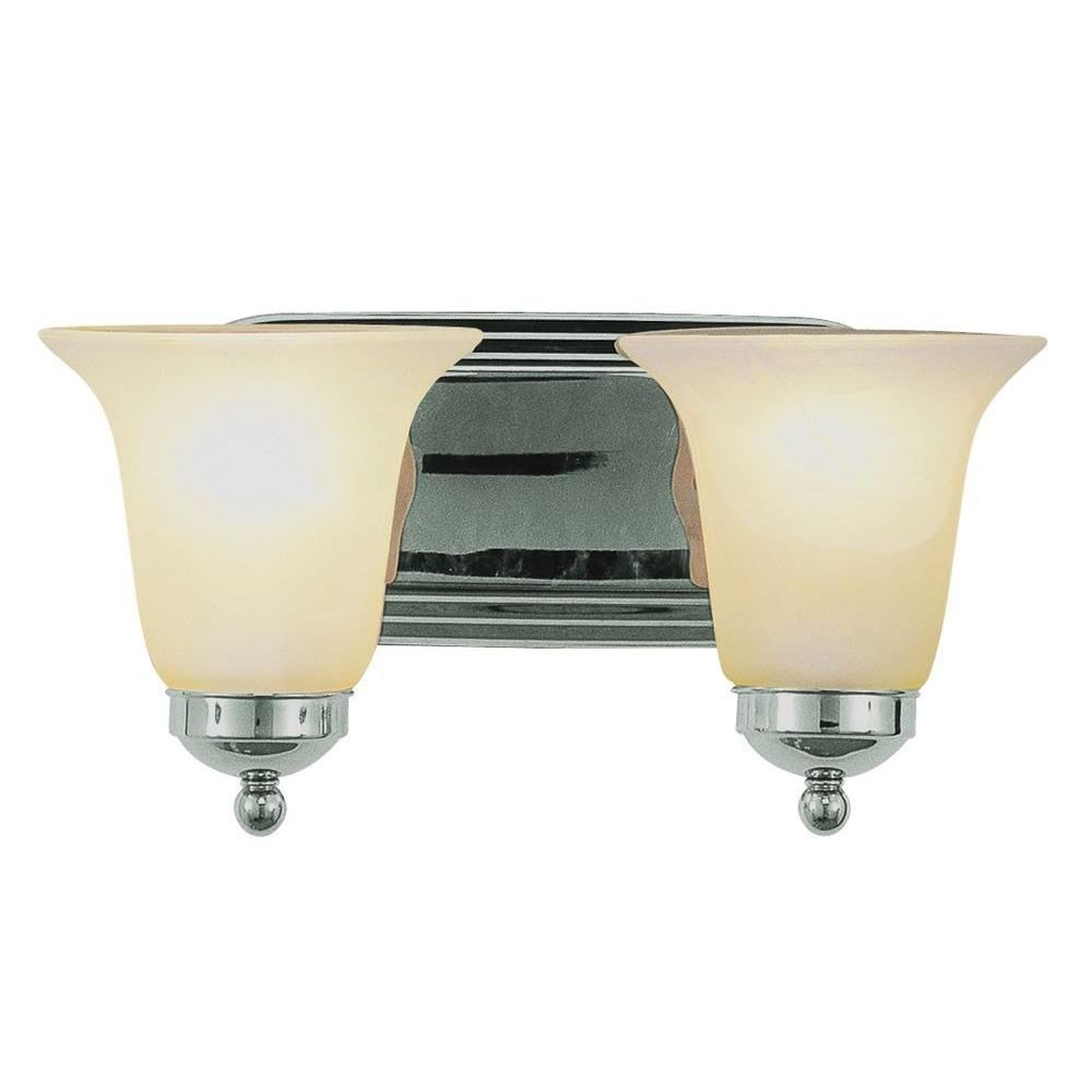 Cabernet Collection 2-Light Brushed Nickel Bath Bar Light with White Marbleized