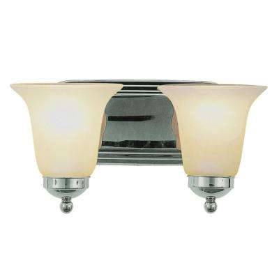 Cabernet Collection 2-Light Polished Chrome Bath Bar Light with White Marbleized Shade