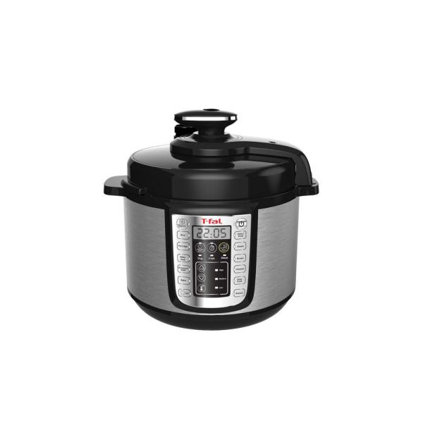 T-fal 6 Qt. Black Stainless Steel Electric Pressure Cooker with Built-In