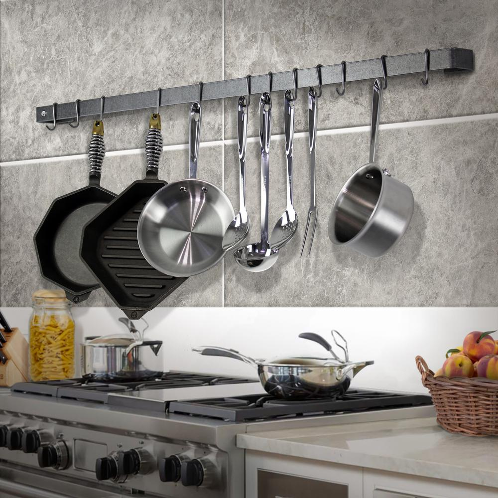 Handcrafted 48 in. Wall Rack Utensil Bar w 12 Hooks Stainless