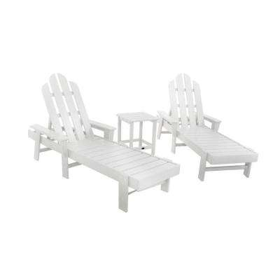 Long Island White 3-Piece Patio Chaise Set