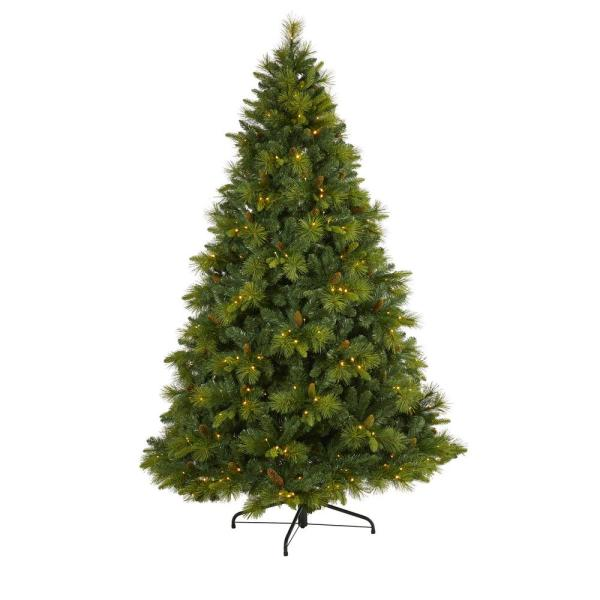 7.5 ft. Pre-Lit North Carolina Mixed Pine Artificial Christmas Tree with 470 Warm White LED Lights, Pine Cones