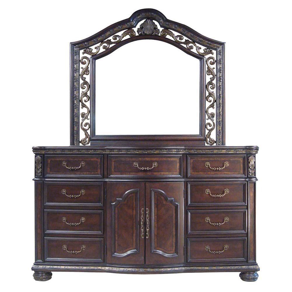 Monte Carlo 9-Drawer Cherry Dresser and Mirror