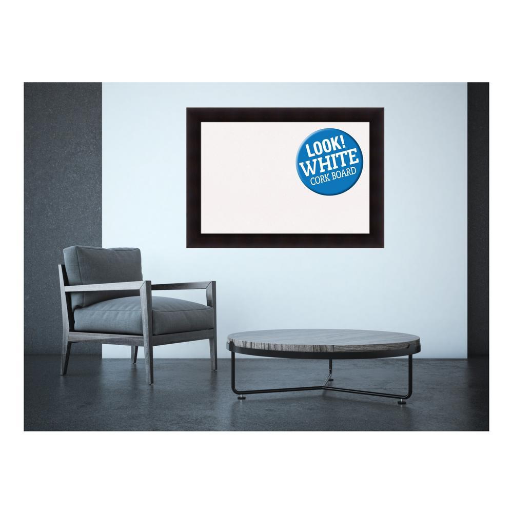 Portico Espresso Wood 42 in. x 30 in. Framed White Cork Memo Board