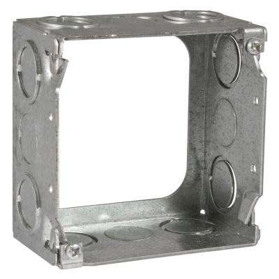 4 in. Square Welded Extension Ring, 2-1/8 in. Deep with 1/2 in. and 3/4 in. KO's (25-Pack)