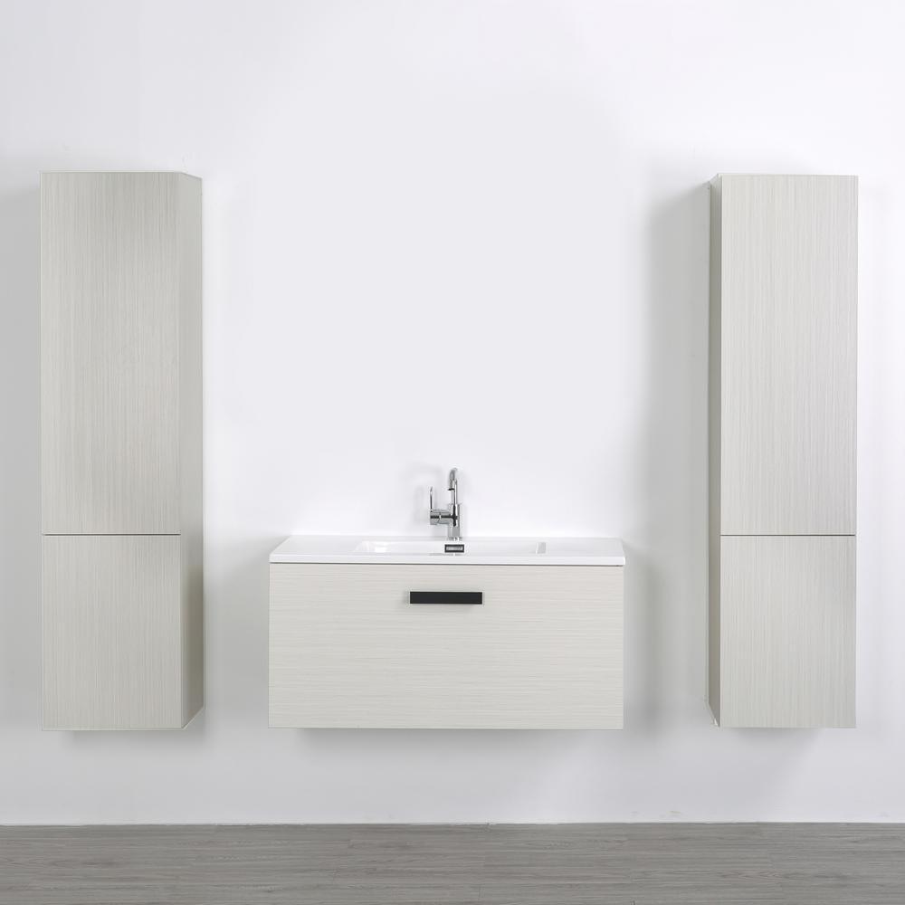 Streamline 39.4 in. W x 18.1 in. H Bath Vanity in Gray with Resin Vanity Top in White with White Basin