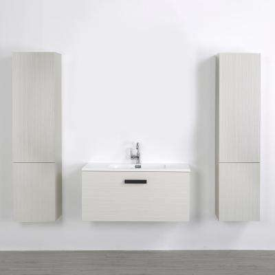 39.4 in. W x 18.1 in. H Bath Vanity in Gray with Resin Vanity Top in White with White Basin
