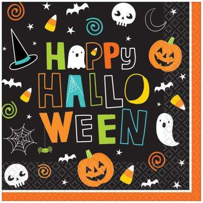 5 in. x 5 in. Paper Halloween Friends Beverage Napkins