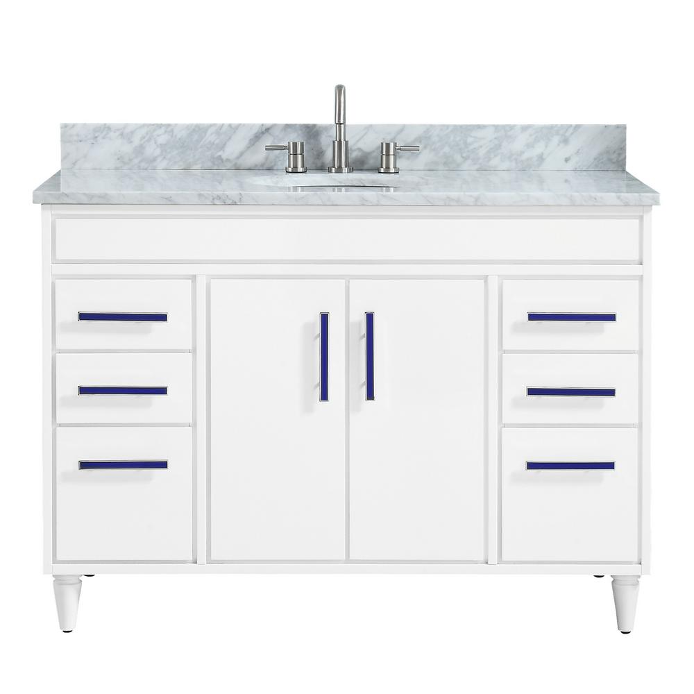 Avanity Layla 49 in. W x 22 in. D x 35 in. H Bath Vanity in White with Marble Vanity Top in Carrara White with Basin