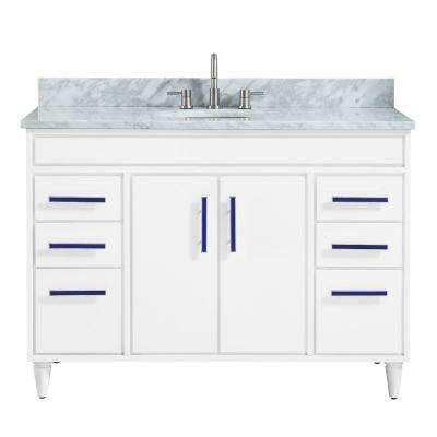 Layla 49 in. W x 22 in. D x 35 in. H Bath Vanity in White with Marble Vanity Top in Carrara White with Basin